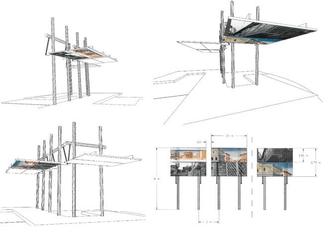 Etude d'un aménagement urbain (kiosque). 1997. Avec la DRAC Région Centre. Dessins
