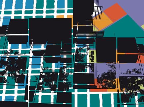 """""""Couleurs & Grilles"""", jet d'encre sur dibon, 56,25 x 75 cm, 2012"""