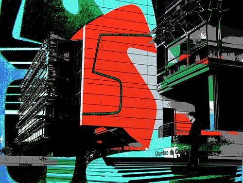 """""""Chambre commerce"""", jet d'encre sur dibon, 112,5 x 150 cm, 2011"""