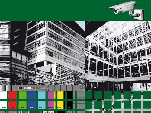 """""""Caméras Bureaux"""", jet d'encre sur dibon, 112,5 x 150 cm, 2012"""