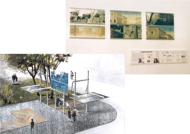 En haut. Maquette d'un aménagement urbain (kiosque). 1996 - 1997, 360 x 160 cm. Photocopie, métal, résine polyester, plans sur bois.   En bas. Dessin du kiosque. 1997.