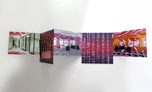 """""""Cessation d'activité"""", encre sur métal, 40 x 163 x 28 cm, 2013"""