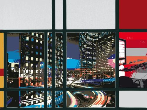 """""""Bureaux Ville Nuit"""", jet d'encre sur dibon, 56,25 x 75 cm, 2010"""