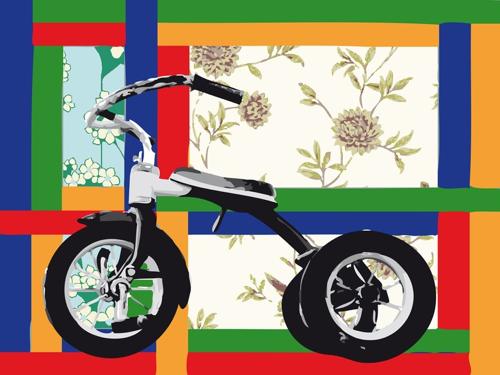 """""""Tricycle à Fleurs"""", jet d'encre sur dibon, 112,5 x 150 cm, 2010"""