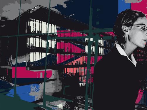 """""""Bureaux Secrétaire Nuit"""", jet d'encre sur dibon, 112,5 x 150 cm, 2010"""