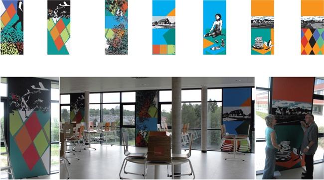 Réalisation pour le collège Vauban à Maubeuge. Sur plus de trente plaques de dibon sérigraphiées par jet d'encre, sont réunies des silhouettes, des paysages et des motifs géométriques monumentaux.  Ici, dans le réfectoire, entre les châssis vitrés, des photographies panoramiques et des images d'enfants parcourant le paysage sont exposées.