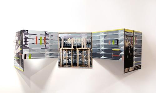 """""""UBS"""", encre sur métal, 53 x 190 x 40 cm, 2013"""