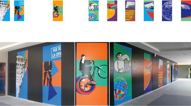 Réalisation pour le collège Vauban à Maubeuge. Dans le couloir, quinze panneaux monumentaux et dynamiques invitent les étudiants à la mobilité. Les supports sont pérennes. Les panneaux sont incrustés dans le mur béton noir existant. [250 x 120 cm par panneau.]