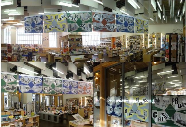 2014, installation et lecture,  librairie du Merle Moqueur au 104, Paris